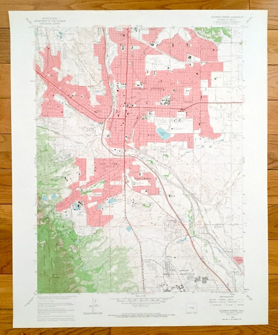 Topographic Map Colorado Springs.Antique Colorado Springs Colorado 1961 Us Geological Survey Etsy