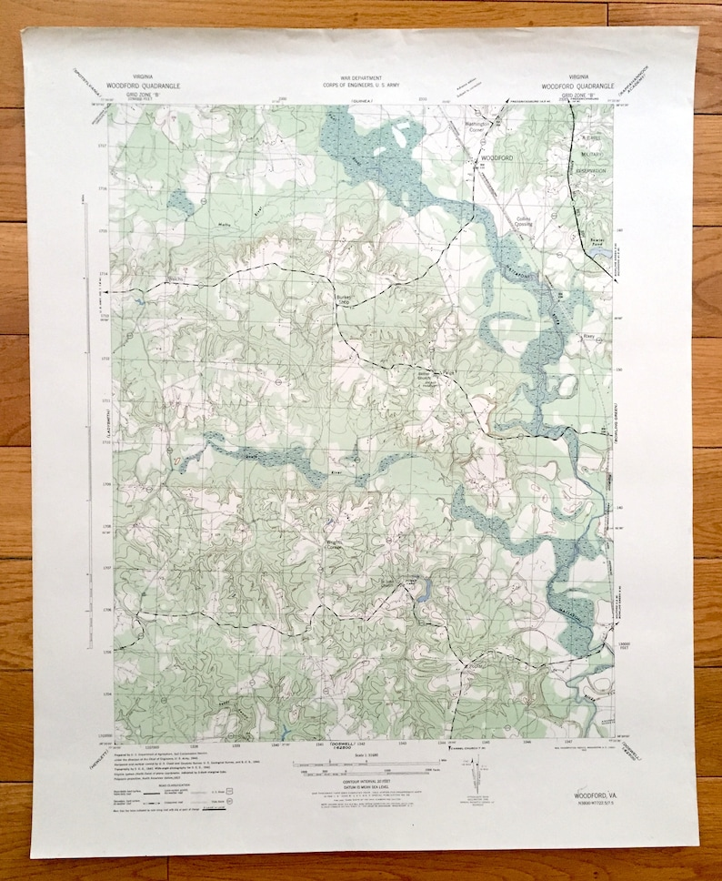 Antique Woodford Virginia 1942 Us Army Topographic Map Etsy - Us-army-topographic-maps