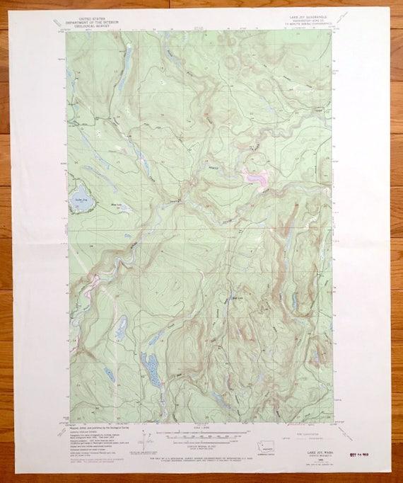 Antique Lake Joy, Washington 1953 US Geological Survey Topographic Map –  King County, Carnation, Tolt River, East of Seattle, Moss Lake