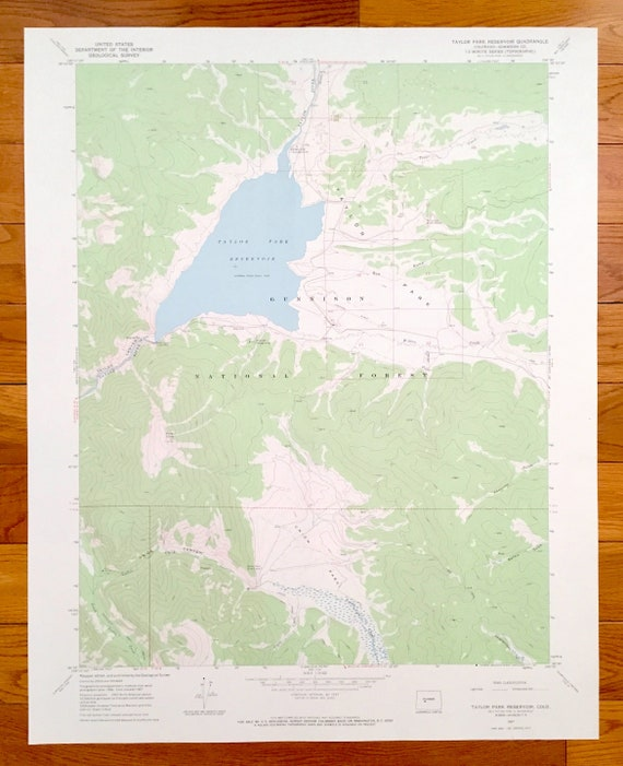 Taylor Park Colorado Map.Antique Taylor Park Reservoir Colorado 1967 Us Geological Etsy