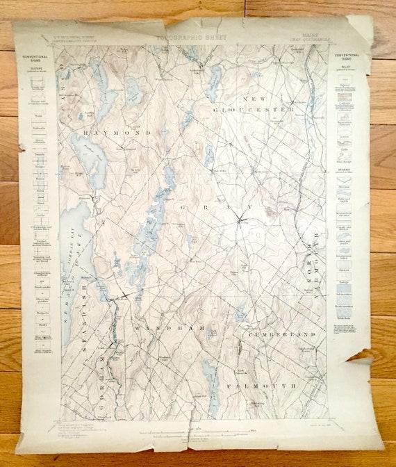 Antique Sebago Lake Maine 1898 Us Geological Survey Etsy