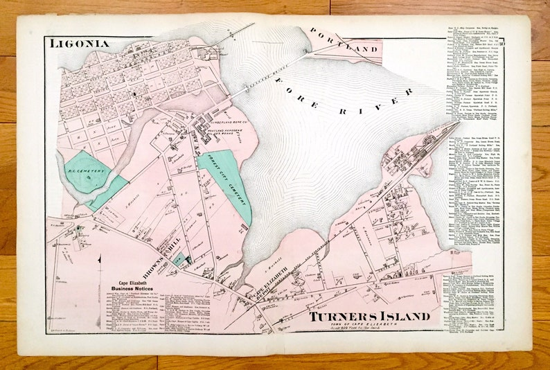 Maine Map from F.W Antique 1871 Cape Elizabeth Fore ME Turner/'s Island Beers Atlas of Cumberland County \u2013 Portland Ligonia Browns Hill