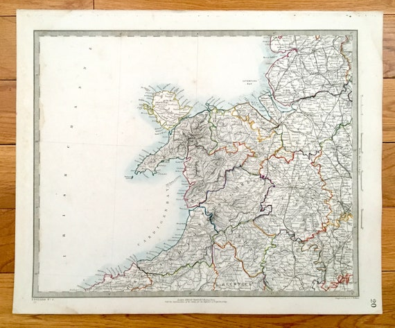 Antique 1845 England Map from SDUK Atlas – United Kingdom, Liverpool, on