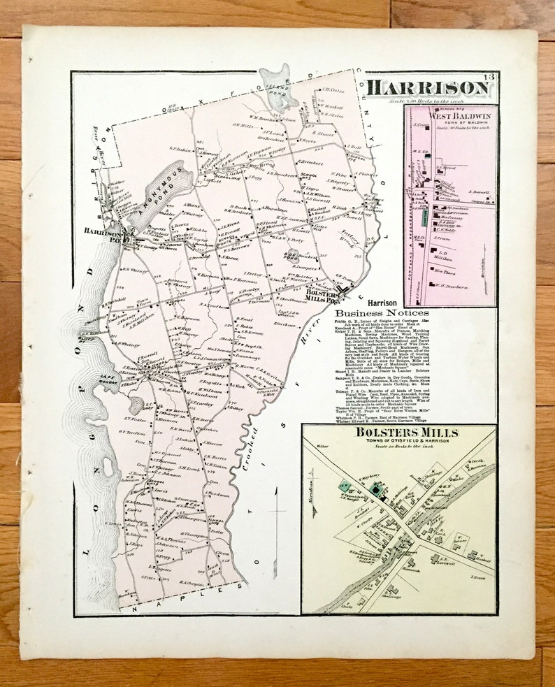Antique 1871 Harrison Maine Map From Fw Beers Atlas Of Etsy - Map-of-us-paper-mills