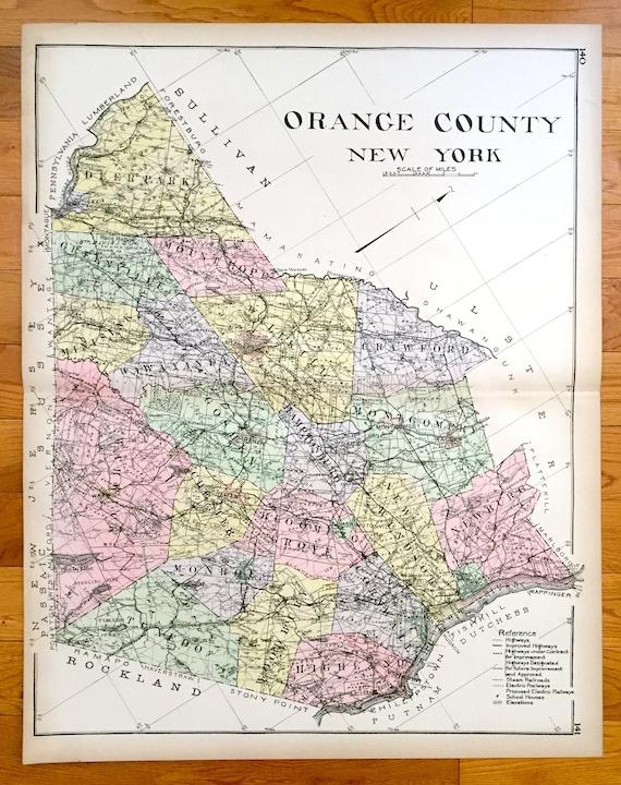 Antique Orange County New York 1911 New Century Atlas Map Etsy