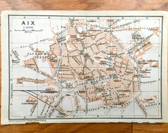 Antique 1914 Aix, France Map from Baedekers Guide Atlas – Provence, Aix-en-Provence, Jardin, Ecole, Gare, Lycee, Caserne, Faubourg, Hotel