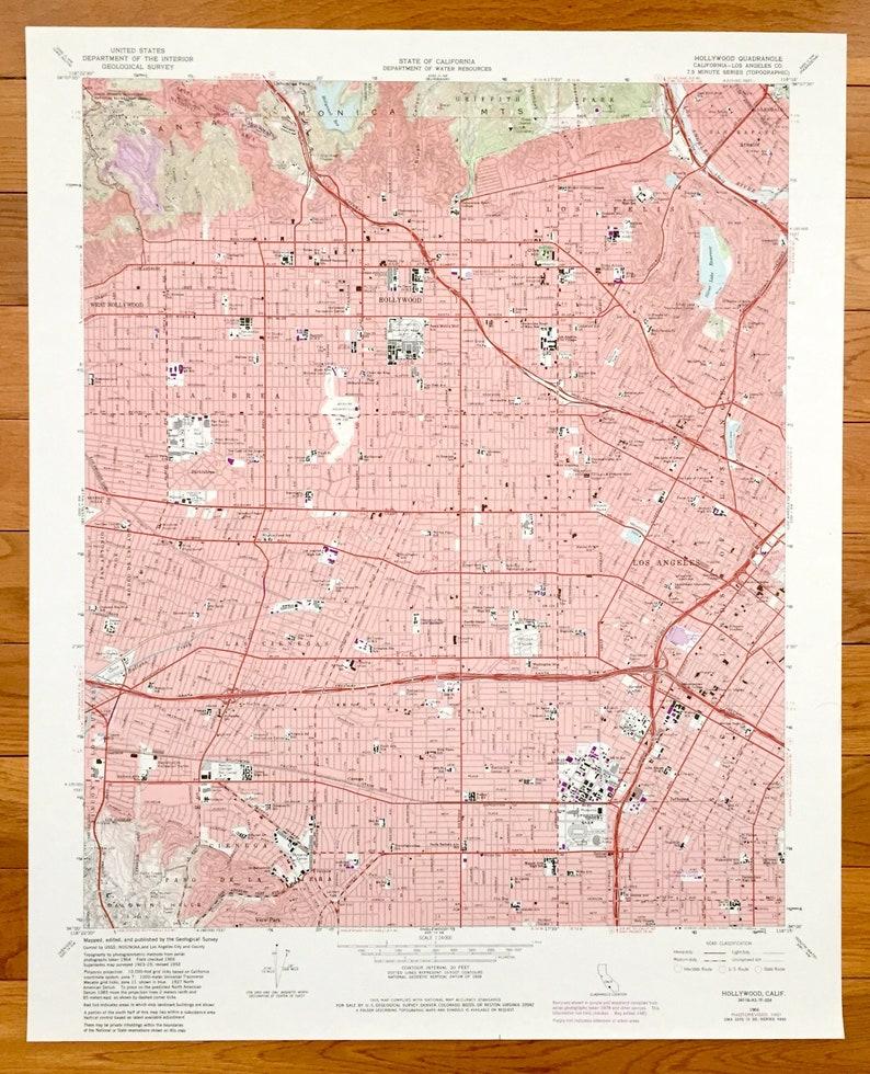 Antique Hollywood, California 1966 US Geological Survey Topographic Map –  Los Angeles, San Rafael, Las Cienagas, La Brea, Griffith Park