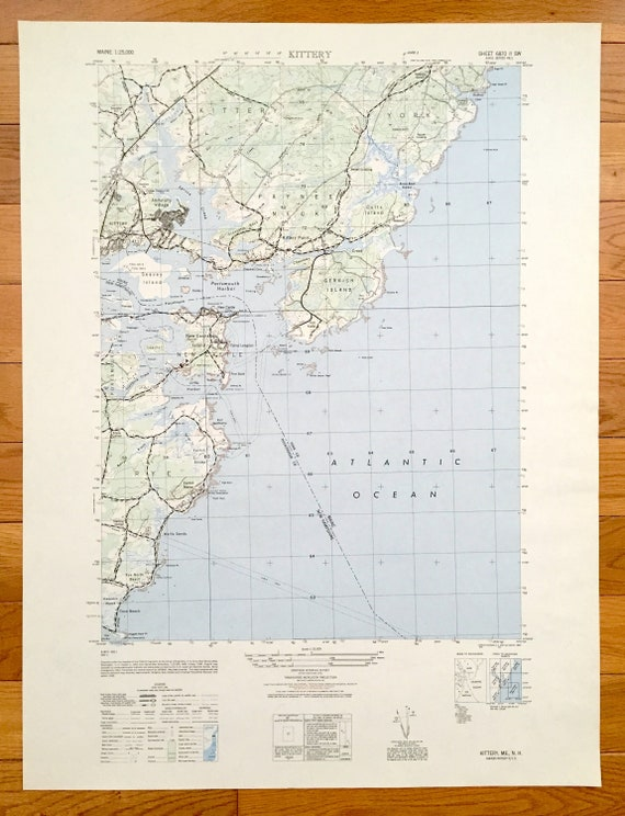 Antique Kittery, Maine 1949 US Geological Survey Topographic Map – York  County, New Castle, Rye, Foss Beach, Portsmouth New Hampshire