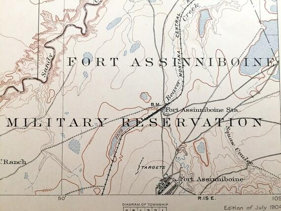 Antique Assinniboine Montana 1904 Us Geological Survey Etsy