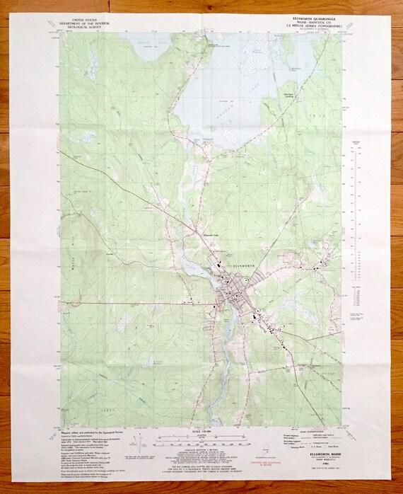 Antique Ellsworth Maine 1981 Us Geological Survey Topographic Etsy
