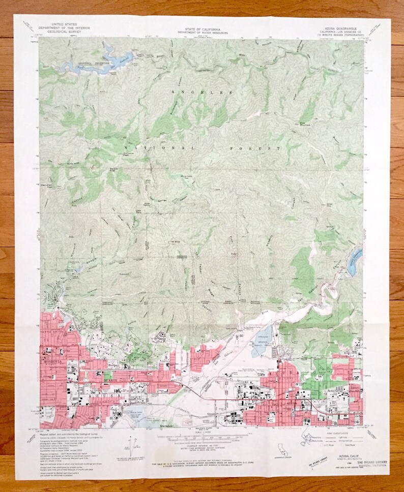 Antique Azusa California 1966 US Geological Survey | Etsy on