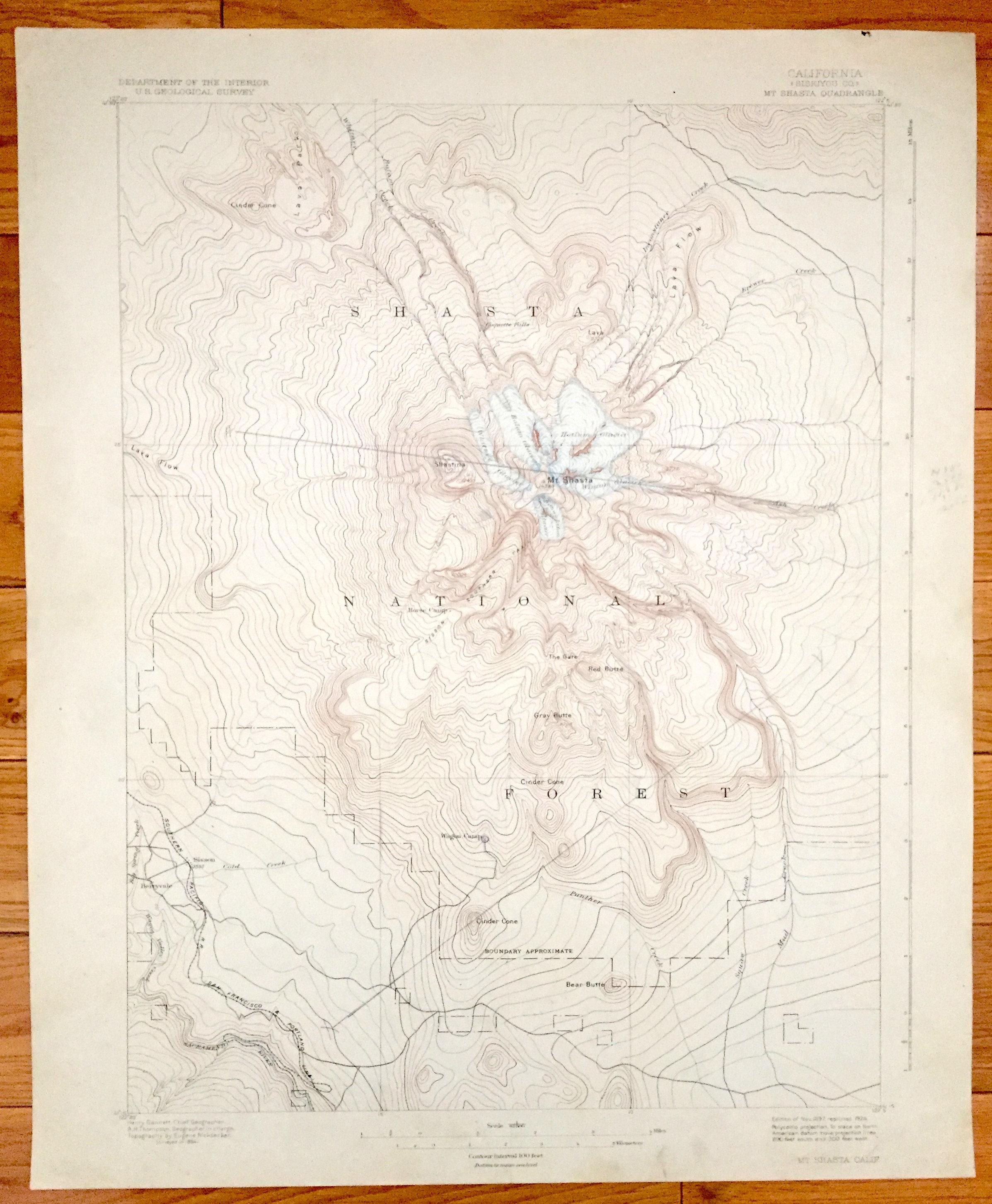 Antique Mount Shasta California 1897 Us Geological Survey Etsy