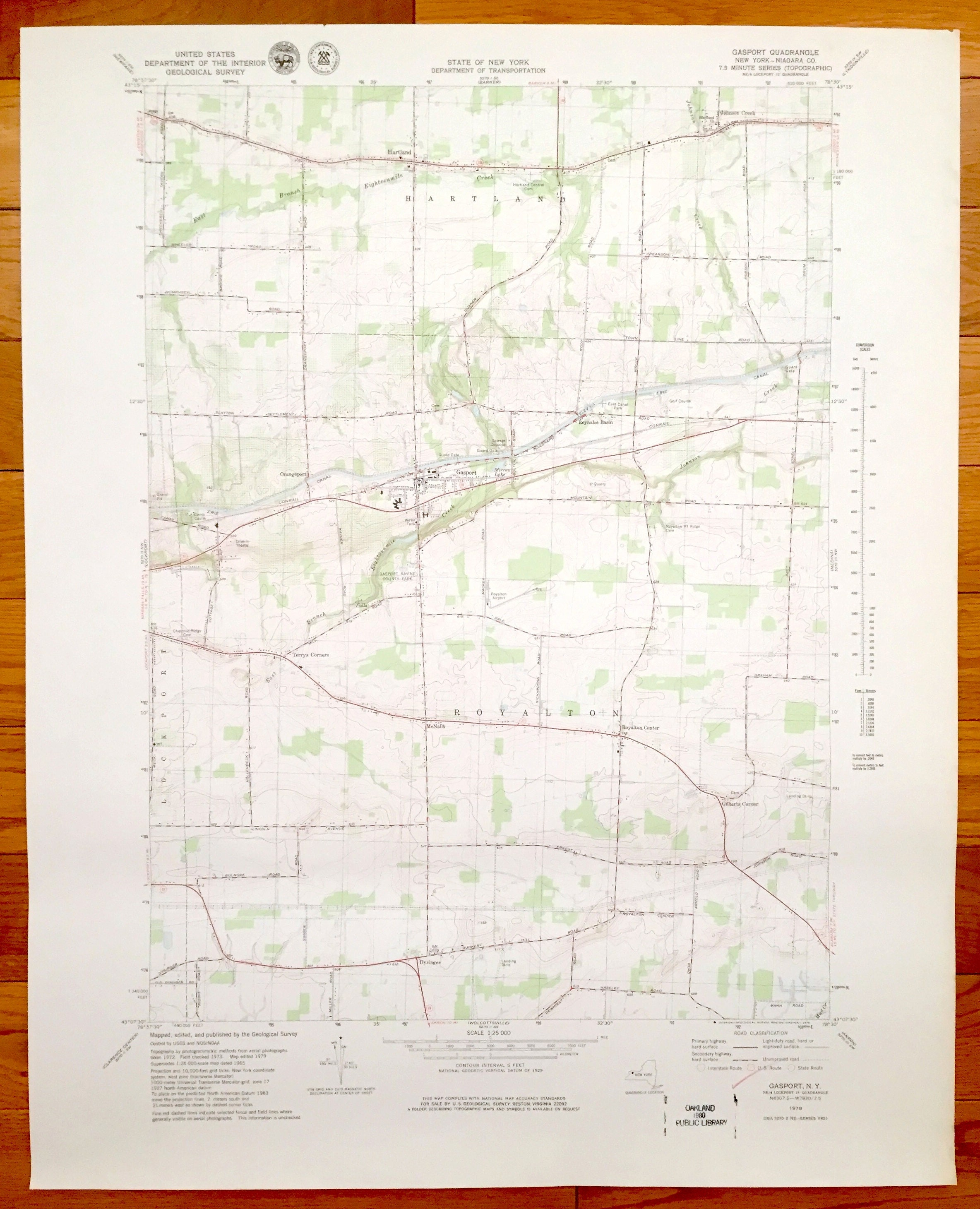 Antique Gasport, New York 1979 US Geological Survey Topographic Map –  Royalton, Hartland, Dysinger, Terrys Corners, Lockport, Reynales Basin