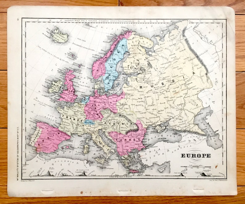 Map Of France England And Spain.Antique Europe 1866 Rand Mcnally Map England France Spain Prussia Austria Turkey Russia Siberia Italy Norway Sweden Portugal