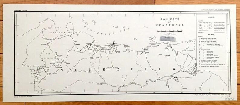 Antique Venezuela 1942 Railroads Map US Board of Economic | Etsy