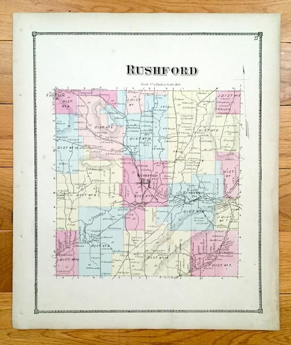 rushford lake ny map Antique 1869 Rushford New York Map From D G Beers Atlas Of Etsy rushford lake ny map