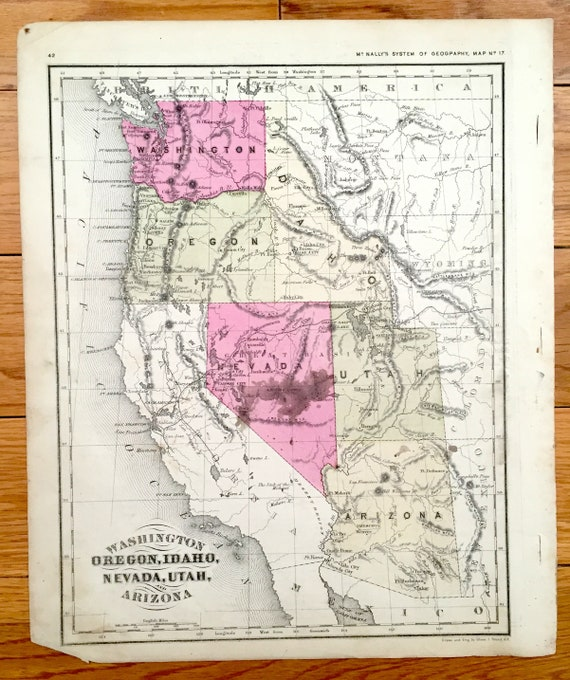 Antique Washington Oregon Nevada Idaho Utah Arizona 1866 Etsy
