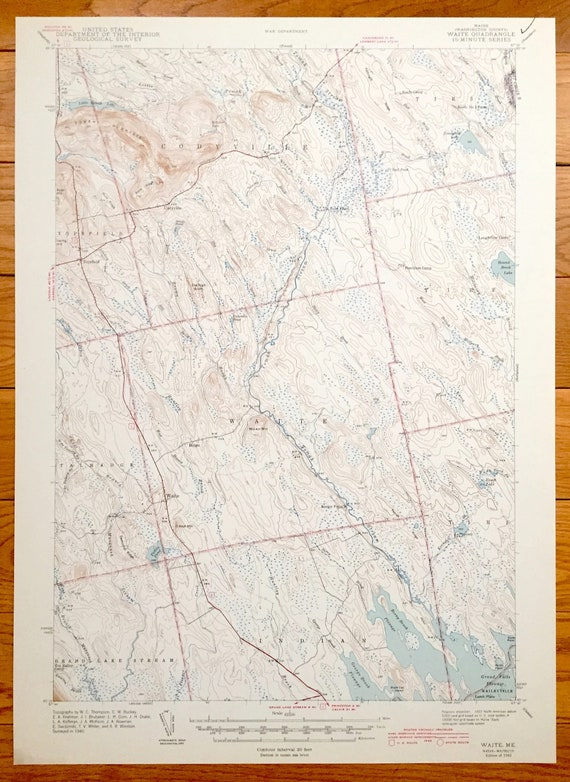 Grand Lake Stream Maine Map.Antique Waite Maine 1942 Us Geological Survey Topographic Map Etsy