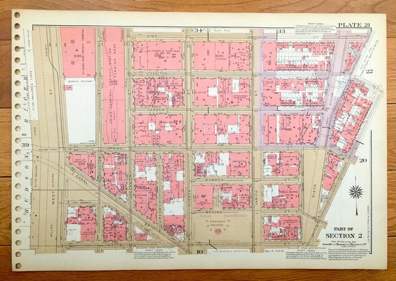 Antique Manhattan, New York Map from Bromley\'s 1955 Manhattan Land Book –  Soho, West Village, Greenwich Village, Houston, Bleecker