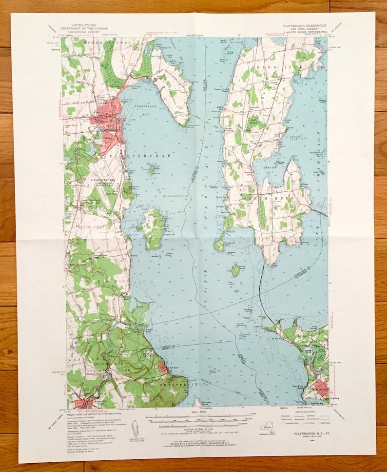 Antique Plattsburgh, New York & South Hero Island, Vermont 1956 US  Geological Survey Topographic Map – Burlington, Lake Champlain, Port Kent