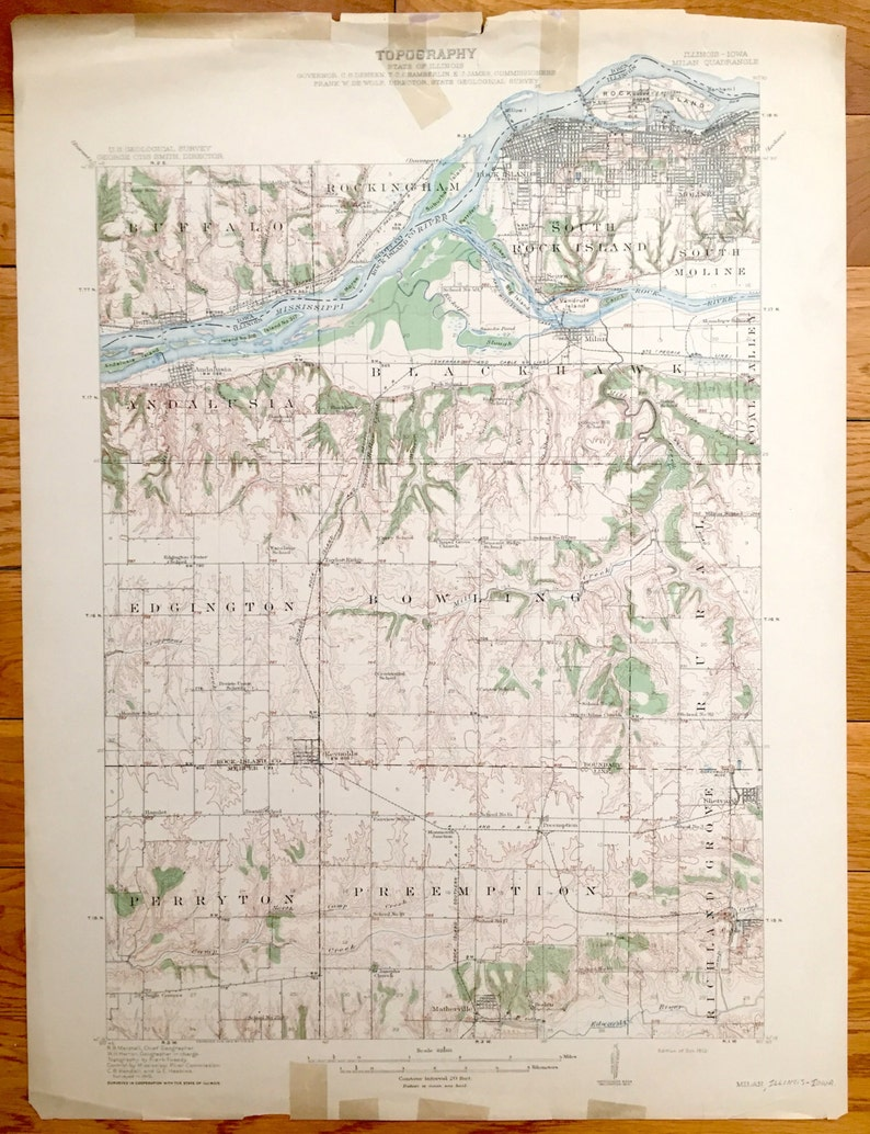 Antique Moline Illinois 1912 Us Geological Survey Topographic Etsy