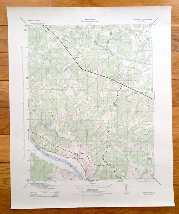 James River Us Map.Antique Perkinsville Virginia 1943 Us Army Topographic Map Etsy