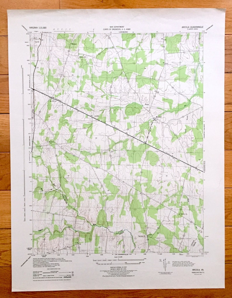 Antique Arcola Virginia 1944 Us Army Topographic Map Etsy - Us-army-topographic-maps