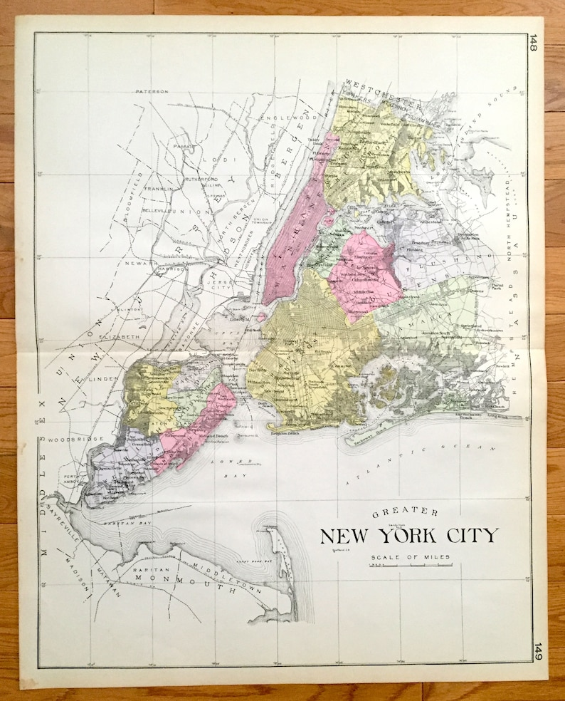 Map Of Greater New York City Area.Antique Greater New York City 1912 New Century Atlas Map Manhattan Queens Brooklyn The Bronx Staten Island Hudson River Long Island