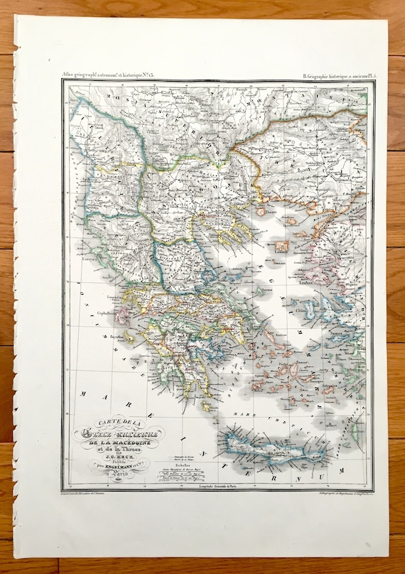 Ancient Greece Map Macedonia.Antique 1835 Ancient Greece Map From Jg Heck S Atlas Etsy