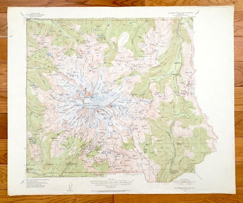 Antique Mt Rainier National Park 1955 US Geological Survey | Etsy on