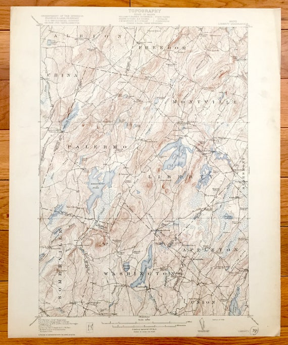 Antique Liberty Maine 1916 Us Geological Survey Topographic Etsy