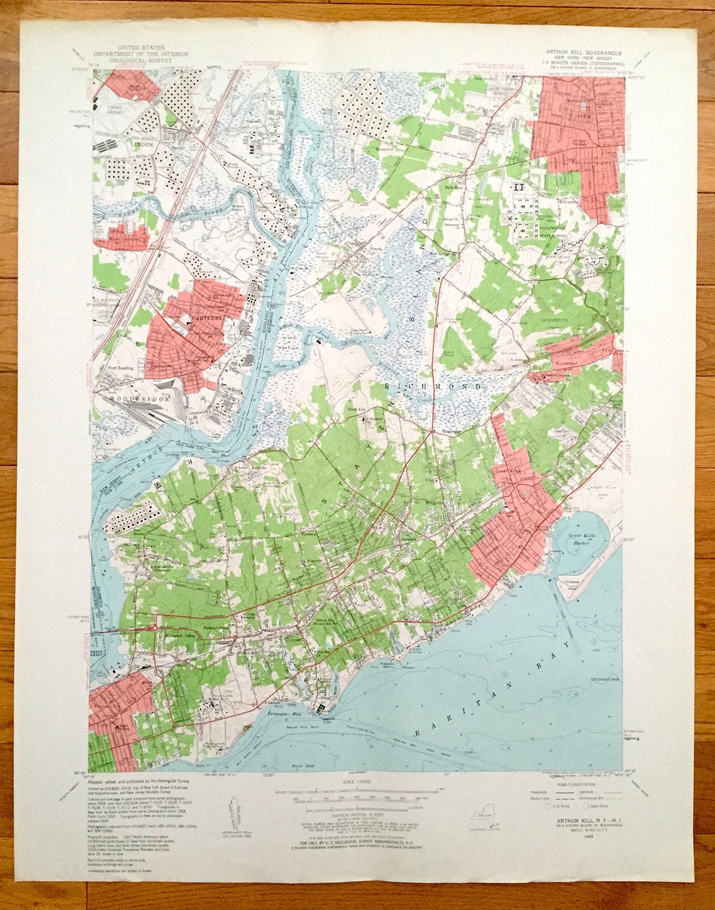Antique Staten Island New York Carteret New Jersey 1955 Us Etsy