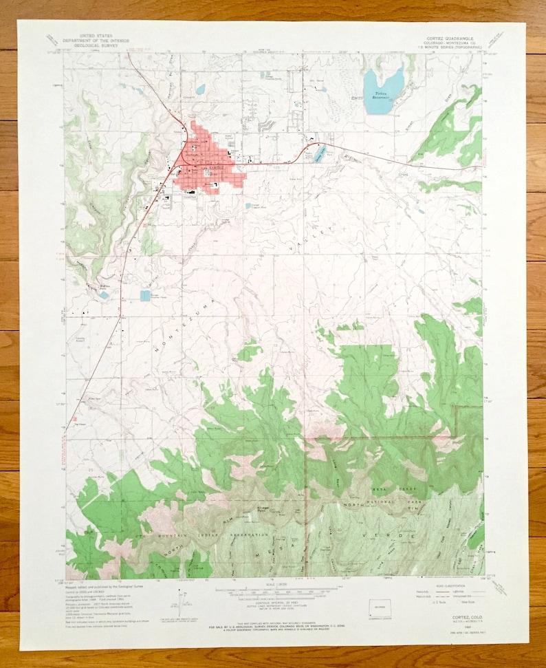 Antique Cortez, Colorado 1965 US Geological Survey Topographic Map –  Montezuma County, McElmo Falls, Ute Mtn Indian Reservation, Mesa Verde