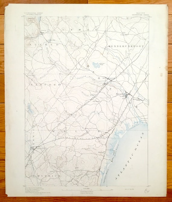 Lyman Maine Map.Antique Kennebunk Maine 1893 Us Geological Survey Topographic Etsy