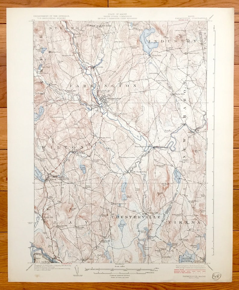 Antique Farmington Maine 1924 Us Geological Survey Etsy