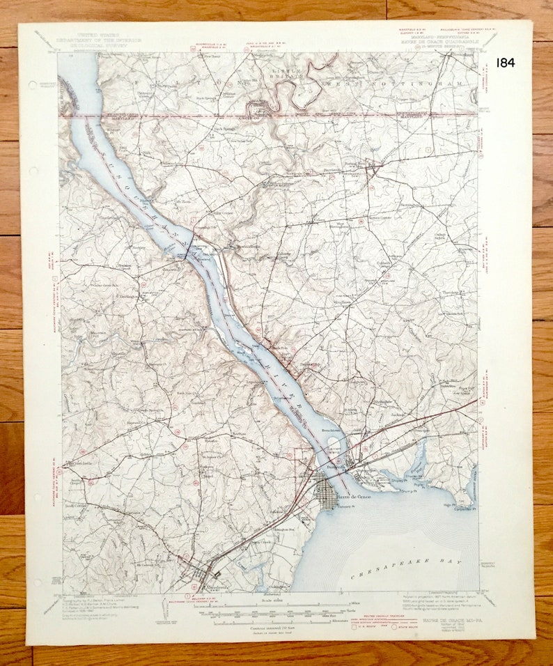 Chesapeake Bay Topographic Map.Antique Havre De Grace Maryland 1942 Us Geological Survey Etsy