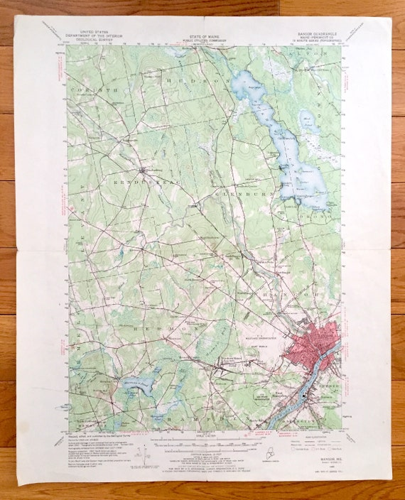 Hermon Maine Map.Antique Bangor Maine 1955 Us Geological Survey Topographic Etsy