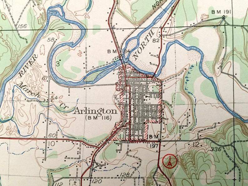 Everett Washington 1943 US Geological Survey Topographic Map \u2013 Snohomish County Tulalip WA Arlington Lake Stevens Antique Marysville