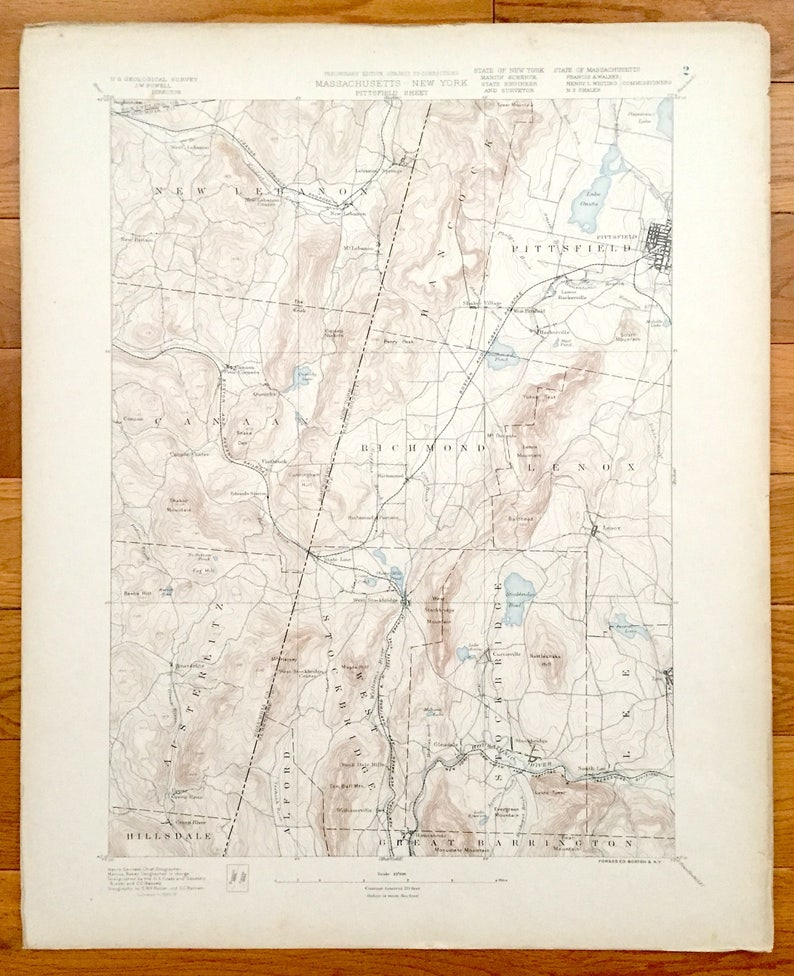 Antique Pittsfield Machusetts 1890 US Geological Survey   Etsy on