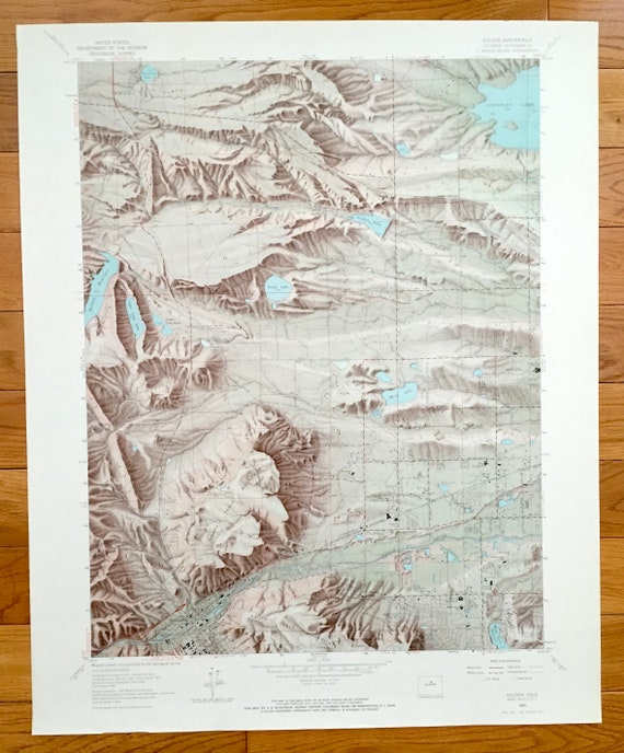 Antique Golden, Colorado 1965 US Geological Survey Topographic Map –  Jefferson County, Leyden, West Denver, Arapahoe, Arvada, Clear Creek