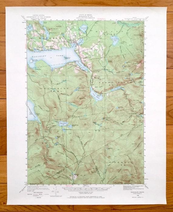Antique Rangeley Lake Maine 1949 Us Geological Survey Etsy