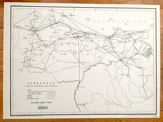 Antique Venezuela 1943 Transportation Map Us Board Of Etsy