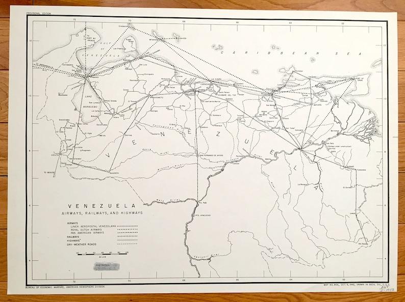 Antique Venezuela 1943 Transportation Map US Board of | Etsy
