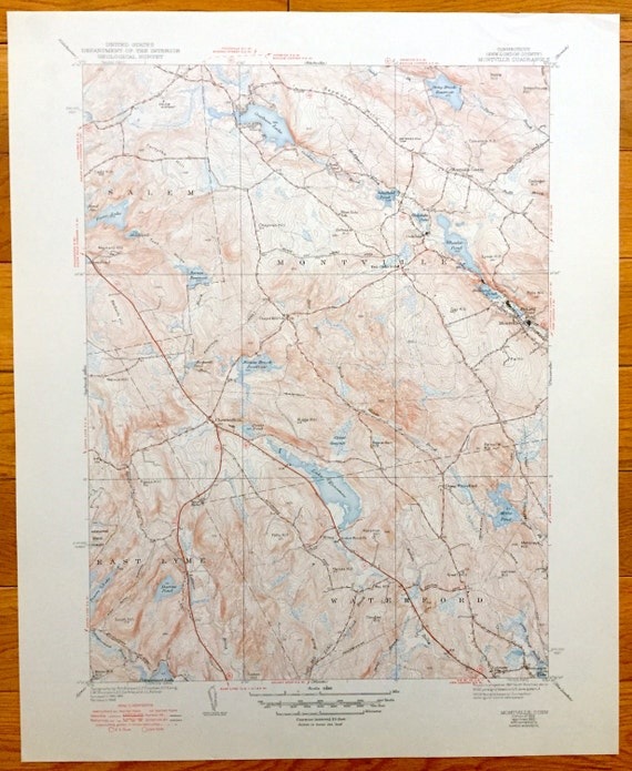 Antique Montville, Salem, East Lyme, Waterford, Chesterfield, Connecticut -  1939 US Geological Survey Topographic Map