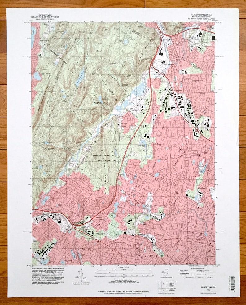 Antique Ramsey, New Jersey & Suffern, New York 1995 US Geological Survey on north jersey zip code map, early new york state map, monsey new york map, wyckoff new jersey newspaper, wyckoff street map, wyckoff nj, south jersey zip code map, early new england colonies map, west orange nj street map, woodstock new york map, hightstown nj map,