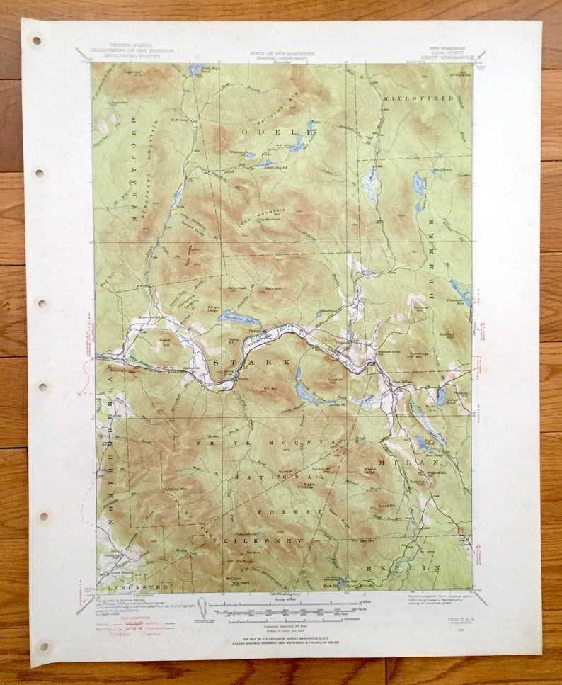 Antique White Mountains, New Hampshire 1930 US Geological Survey Topographic on