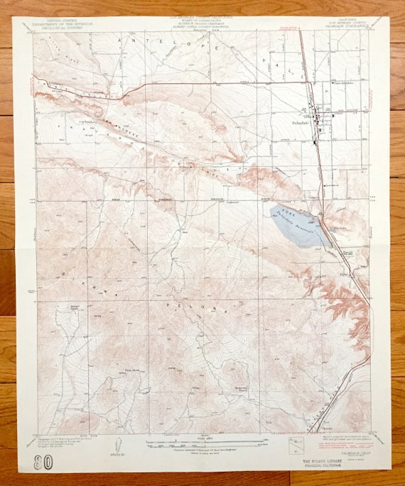 Antique Palmdale, California 1937 US Geological Survey Topographic Map –  Los Angeles County, Anaverde Valley, Antelope, Sierra Pelona