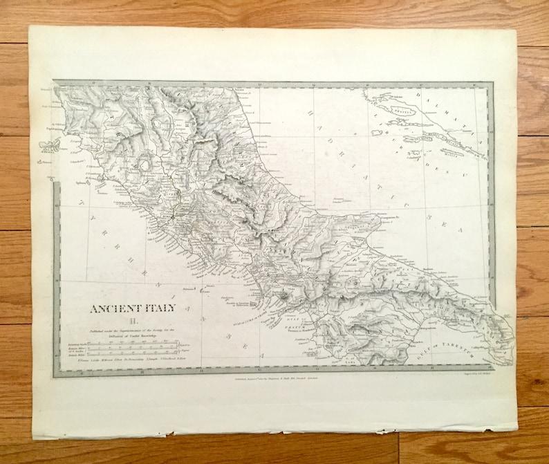 Antique 1830 Ancient Italy Map from SDUK Atlas Rome Roman ...
