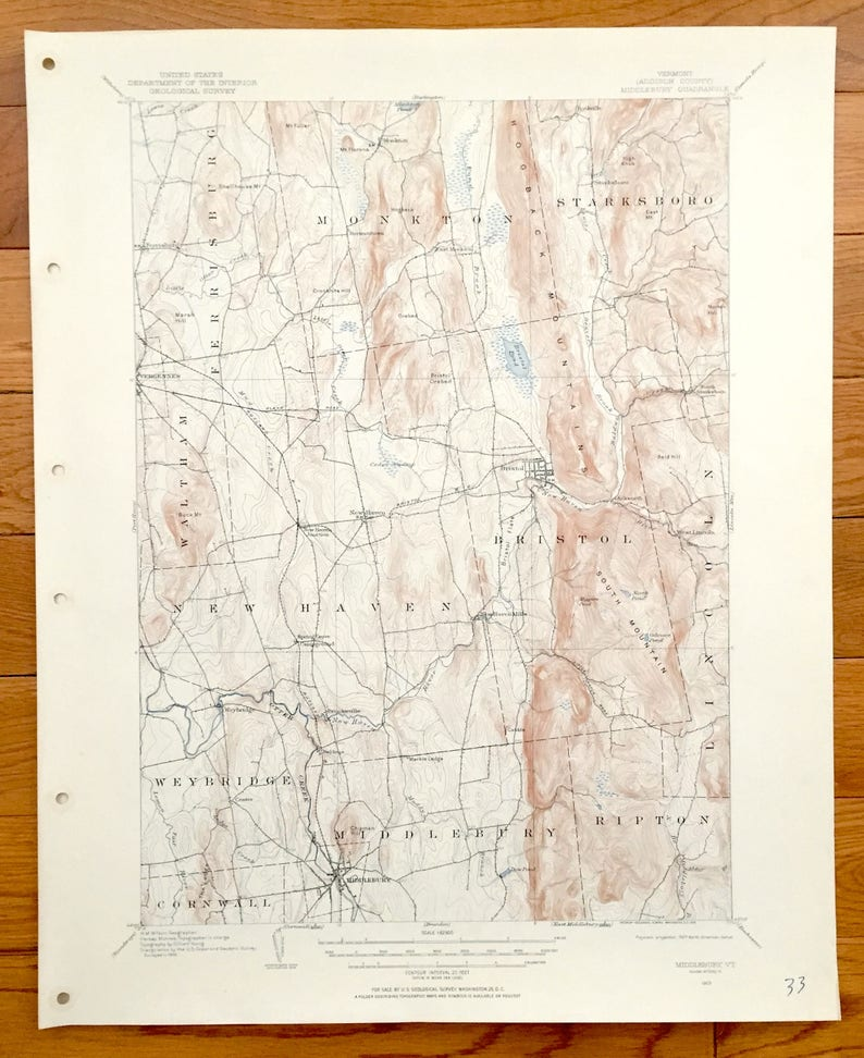 Antique Middlebury Vermont 1903 Us Geological Survey Etsy - Vermont-on-us-map