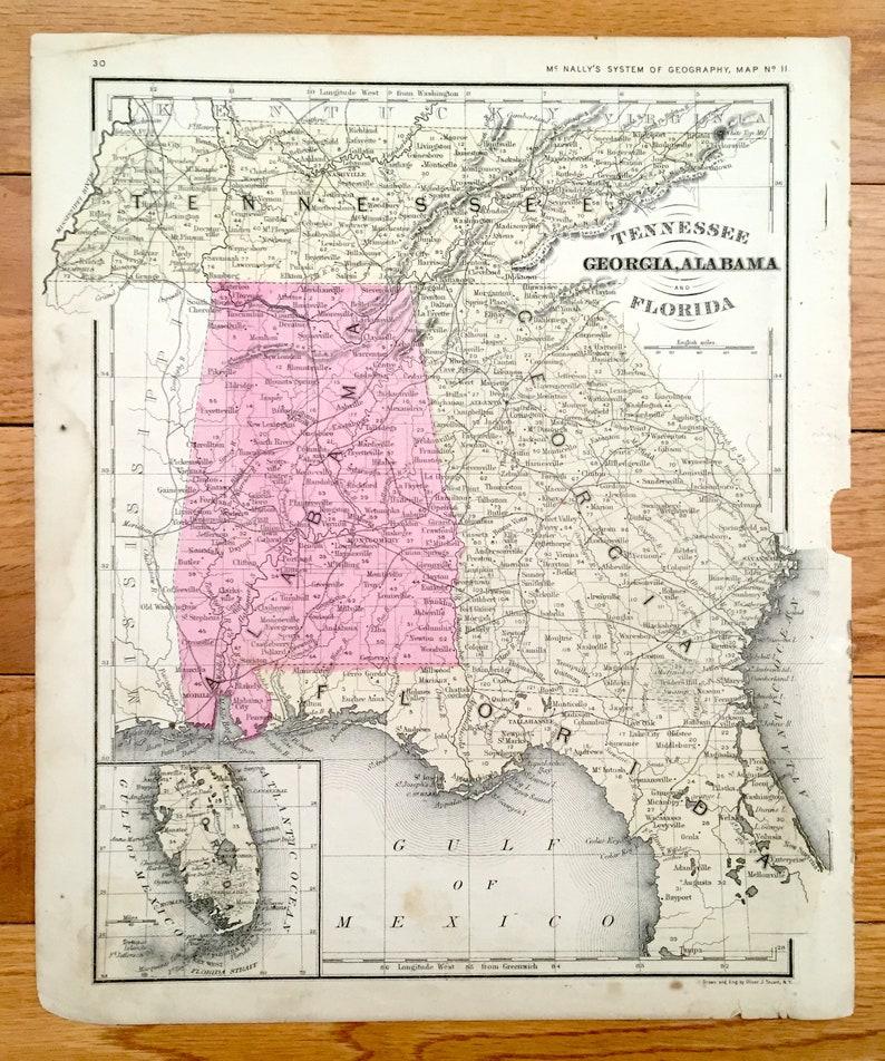 Map Of Jacksonville Georgia.Antique Tennessee Georgia Alabama Florida 1866 Rand Mcnally Map Savannah Jacksonville Mobile Atlanta Nashville Chattanooga